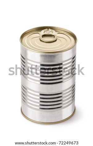 Steel can with key. Isolated on white.
