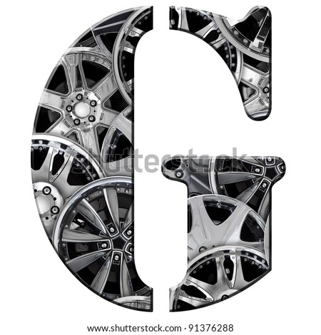 steel car alloy alphabet symbol - g
