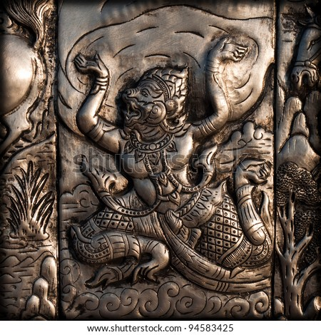 Steel carve of Ramayana, Thai myth and culture - stock photo