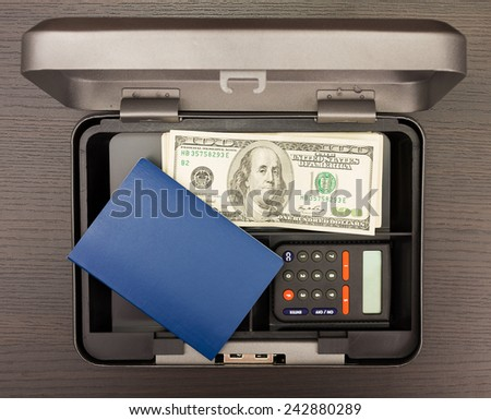 Steel cash box with documents and money