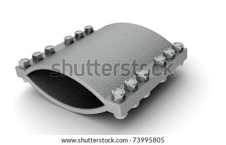 Steel cast clamp with 12 bolts - stock photo