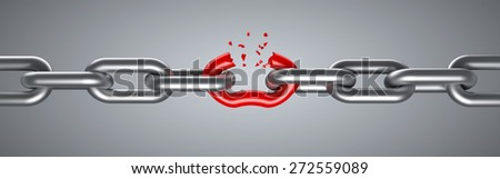 Steel chain breaking with unique red link - stock photo