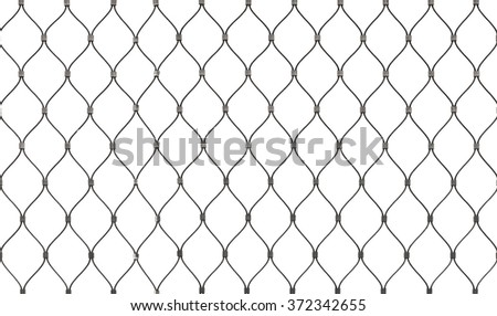 Steel chain link fence background texture isolated on white - stock photo