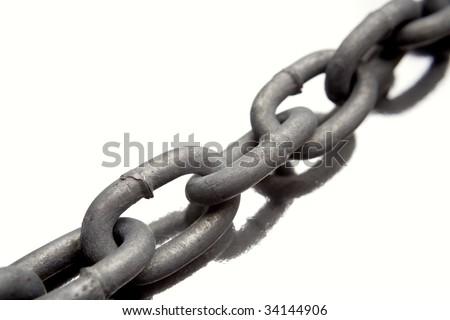Steel chain links on white background - stock photo