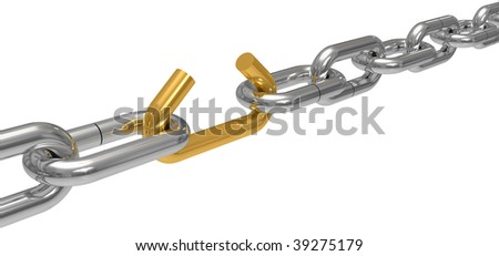Steel chain with the broken off link, the concept of work of a command, drawing it is isolated on a white background - stock photo