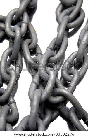 Steel chains on white background - stock photo