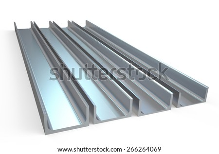 steel channels isolated on white background - stock photo