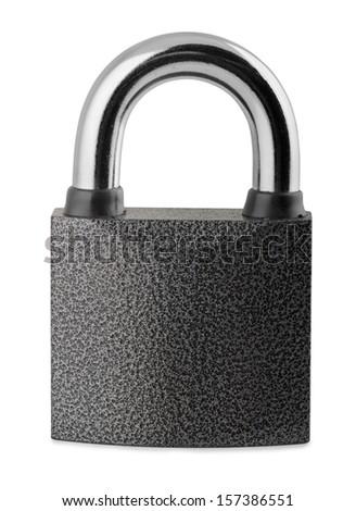 Steel closed padlock isolated on white - stock photo