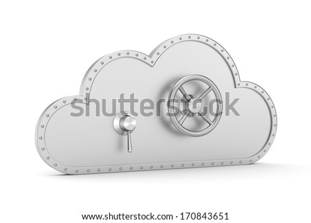 Steel cloud and safe lock. Secure metaphor. - stock photo