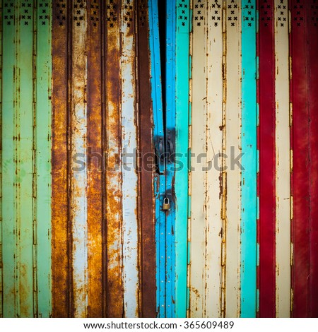 Steel colorful rush and old traditional door.