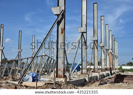 steel column for building factory with sky background