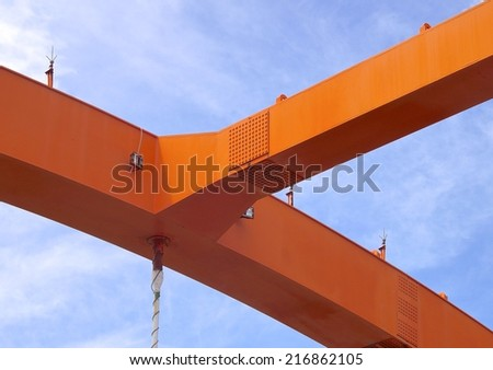 Steel construction of bridge closeup