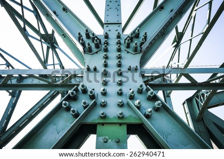 Steel construction of Mautern Brigde, Austria - stock photo