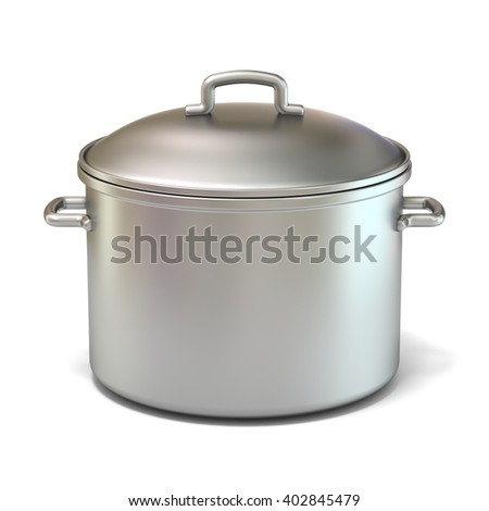 Steel cooking pot. 3D render illustration isolated on white background