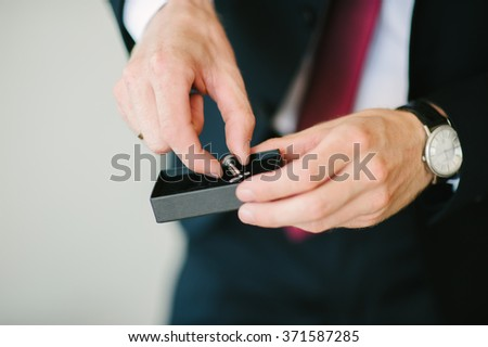 Steel Cufflinks with black box for groom