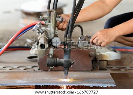 Steel cutting laser plasma close up - stock photo