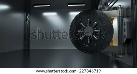 Steel door of Bank vault, 3d render - stock photo