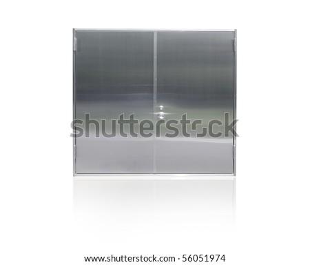 Steel doors isolated on white - stock photo
