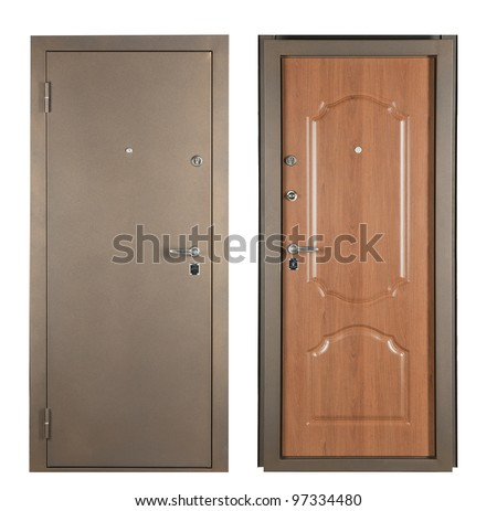 Steel doors lined with white oak on white background - stock photo