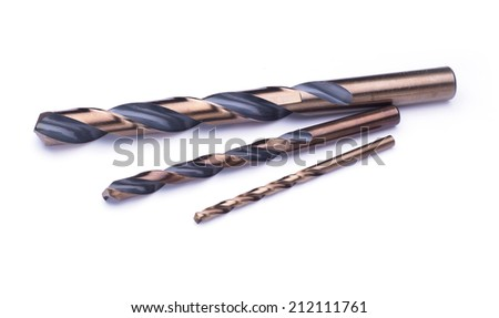 Steel drill bits isolated in white - stock photo