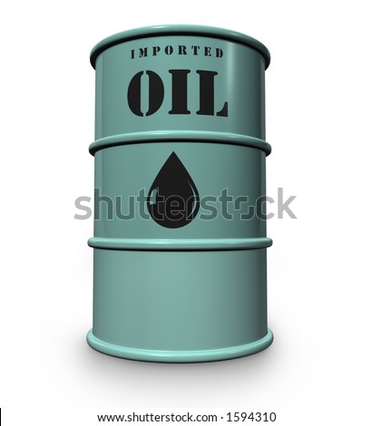 steel drum of imported oil - stock photo
