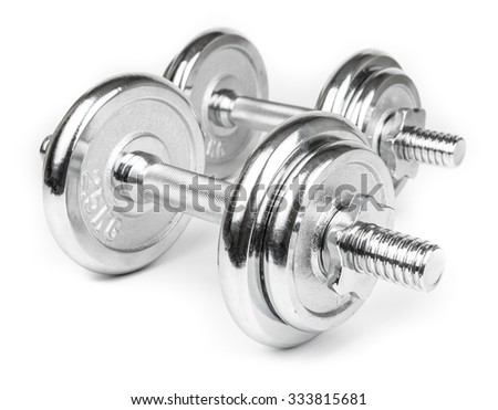 Steel Dumbbells for weightlifting. Isolated on white - stock photo