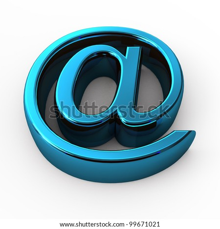 steel e-mail internet  icon 3d  isolated on white background - stock photo