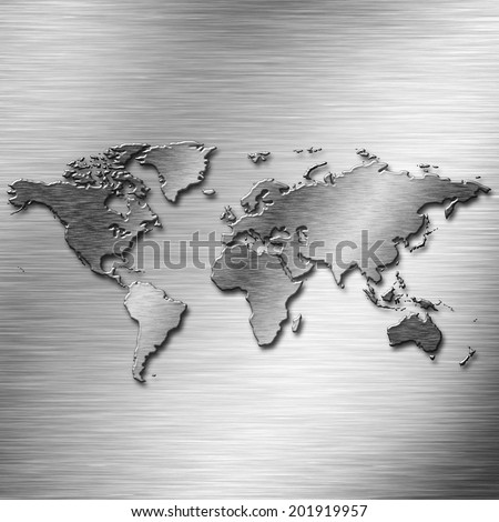 Steel earth map over old aluminum stock illustration 201919957 steel earth map over old aluminum desk as industrial backgrounds gumiabroncs Choice Image