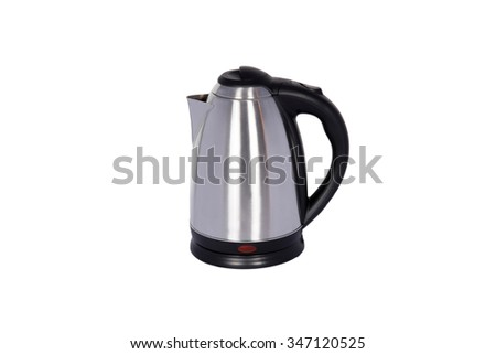 steel electric kettle isolated on white background - stock photo