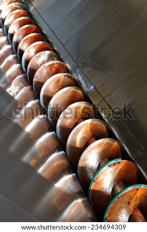 Steel equipment for the processing of the grapes. - stock photo