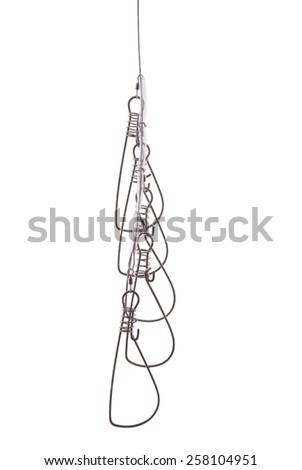 Steel fish stringer isolated on white background - stock photo