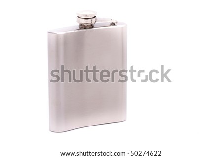 Steel flask on a white background - stock photo
