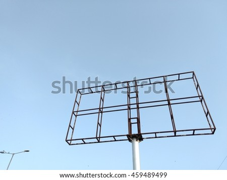 steel frame for large billboard with clear sky ready for rent - stock photo
