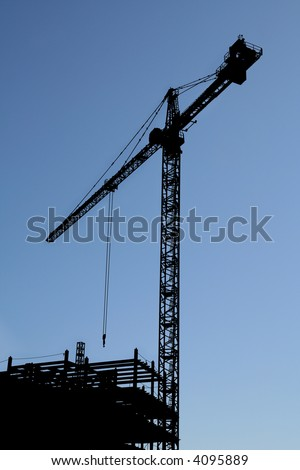 Steel frame work of an office building - stock photo