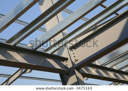 Steel framework under construction - stock photo