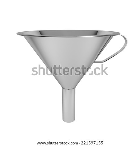 Steel funnel. 3d illustration isolated on white background  - stock photo
