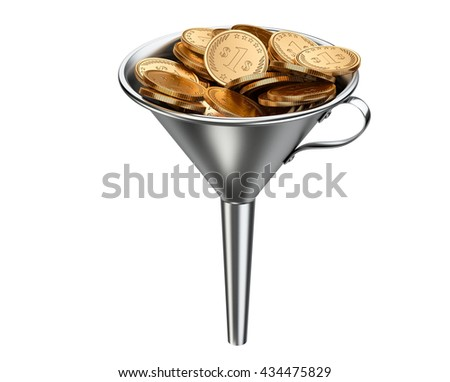 Steel funnel with pile coins . Business investment - concept. 3D illustration isolated on white background. - stock photo