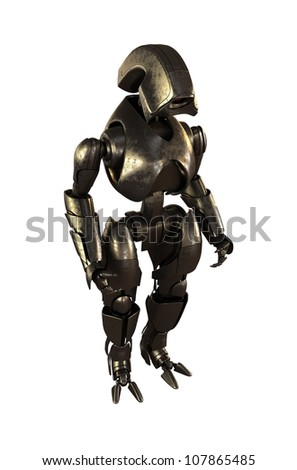 Steel futuristic robot / Steel cyborg  warrior. 3d image isolated on white