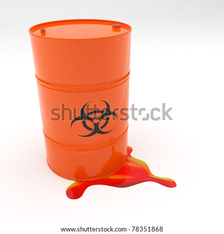 Steel 55 gallon drum orange in color with biohazard symbol leaking contents