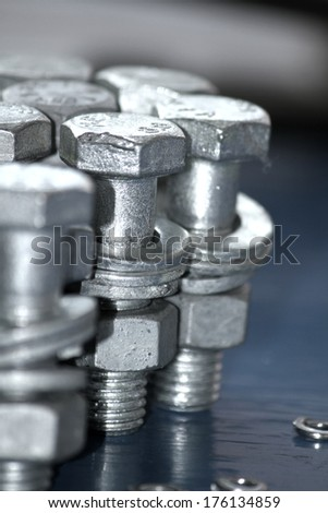 Steel galvanized Bolts & Nuts texture