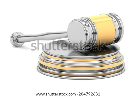 steel gavel and soundboard - with golden insertions - on white background. LAW concept - 3d rendering - stock photo