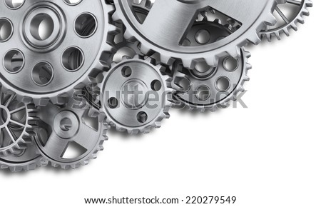 Steel gear wheels - stock photo