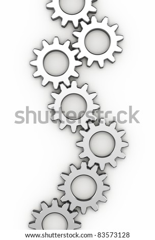 Steel gear wheels - stock photo