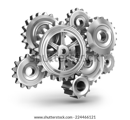 Steel gear wheels concept - stock photo