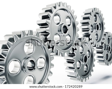 steel gears isolated on a white background