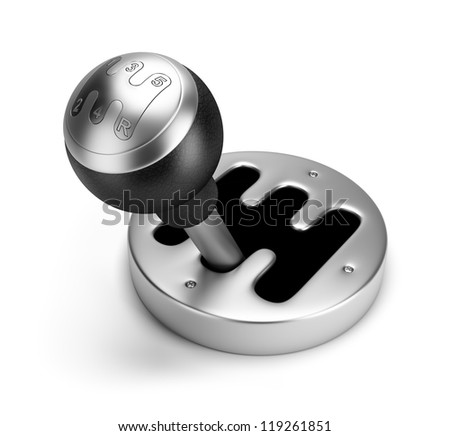 steel gearshift. 3d image. Isolated white background. - stock photo