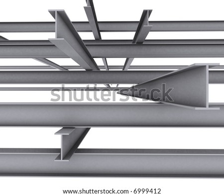 Steel girder isolated on white background - stock photo