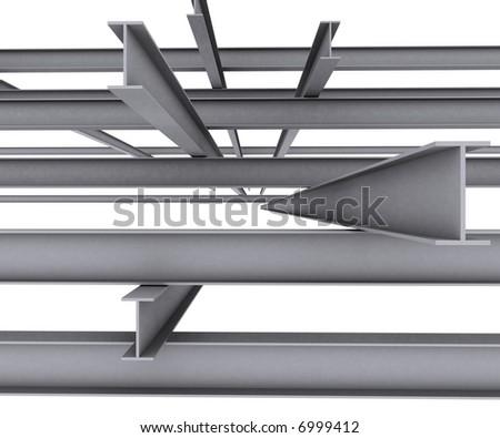 Steel girder isolated on white background - stock photo