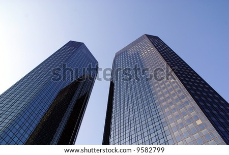 Steel & glass business twin towers - stock photo