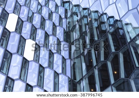 Steel, glass, geometry and light in Iceland